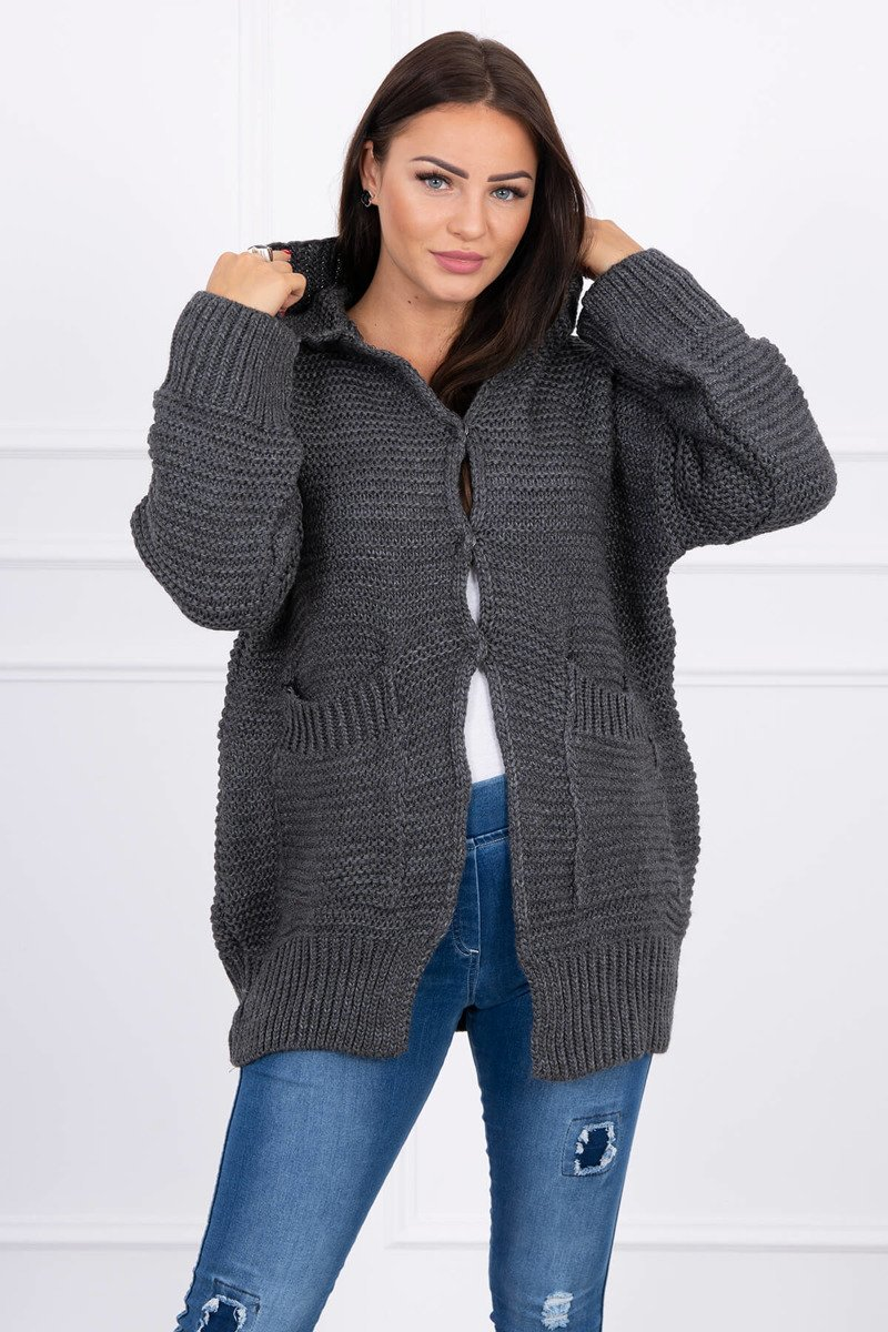 eng pl Sweater with press studs graphite 15809 1