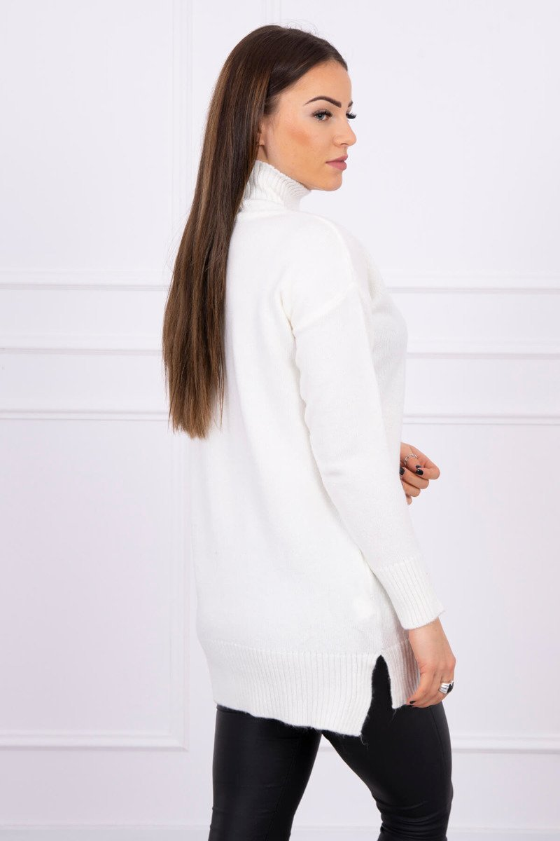 eng pl Sweater with stand up collar ecru 16306 1
