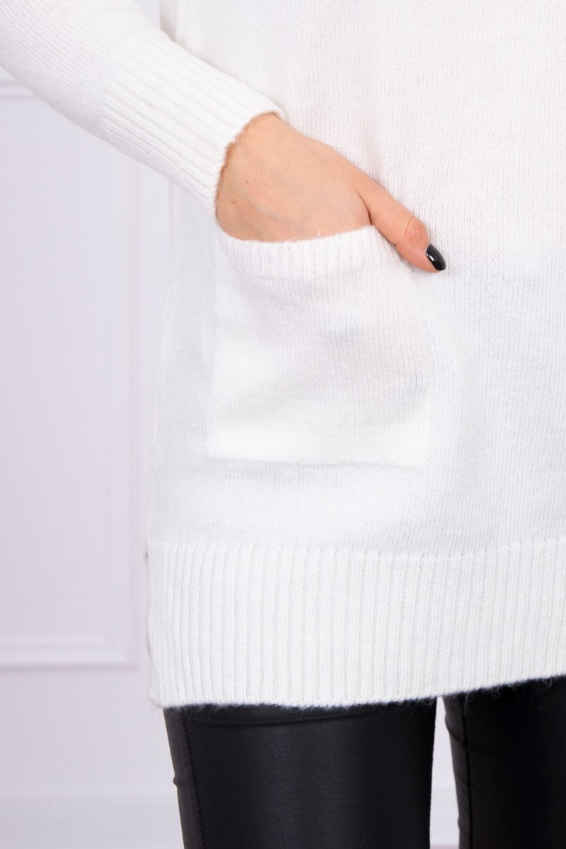 eng pl Sweater with stand up collar ecru 16306 2
