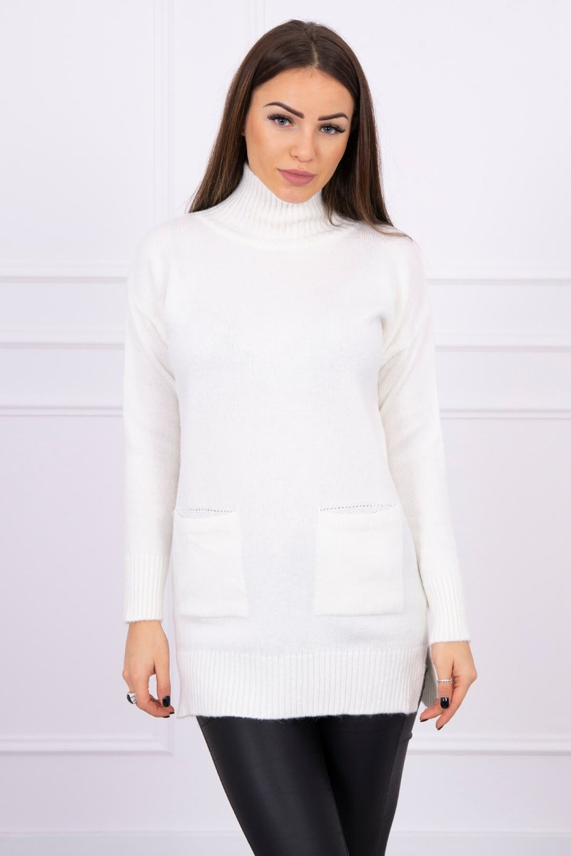 eng pl Sweater with stand up collar ecru 16306 3