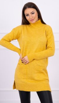 eng pl Sweater with stand up collar mustard 16305 1