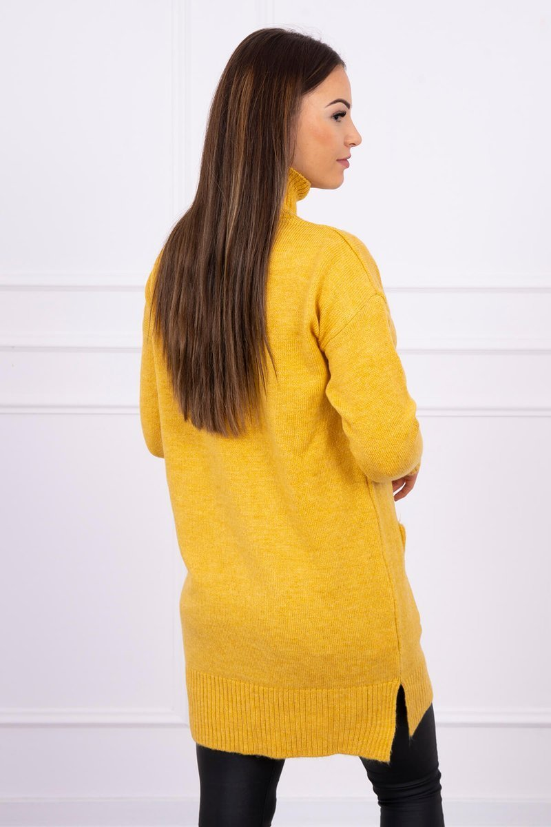 eng pl Sweater with stand up collar mustard 16305 2