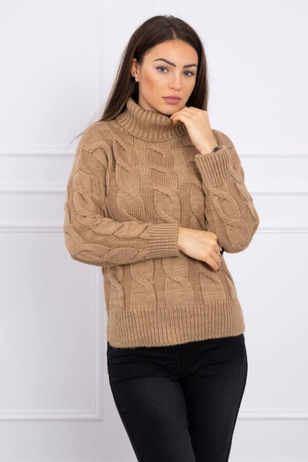 eng pl Turtleneck sweater with longer back camel 16161 1