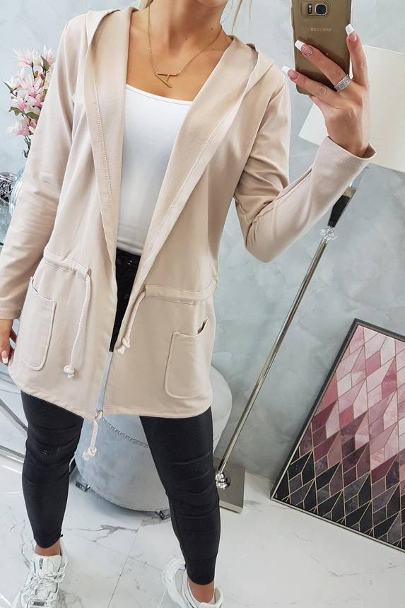 eng pm Cardigan tied at the waist beige 16294 4